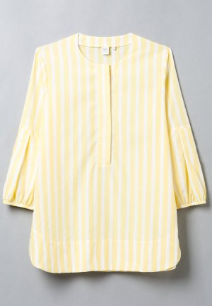 Tunika-Bluse von ETERNA mit Volantärmeln in gelb/weiß gestreift