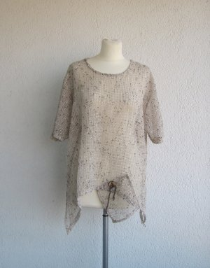 Short Sleeve Knitted Jacket black-beige polyester