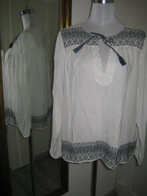 H&M Tuniekblouse wit-blauw Katoen