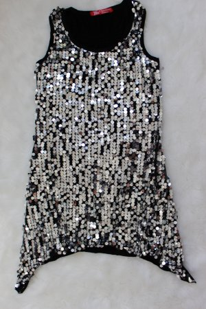 Tunic black-silver-colored polyester