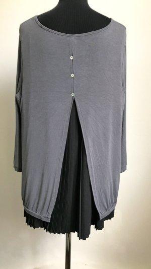 Tunika-Figurschmeichler-extravaganter Rücken-schwarz-grau 40-44 Größe