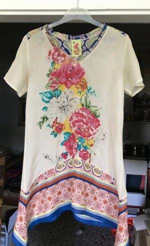 Tunika  Hängerchen Seide  cremefarben mit großzügigem  Blumenprint