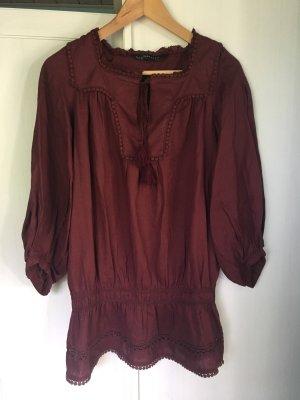 Zara Blusa de túnica burdeos-rojo amarronado Algodón