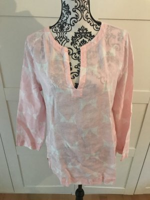 Tunique-blouse rose clair-blanc