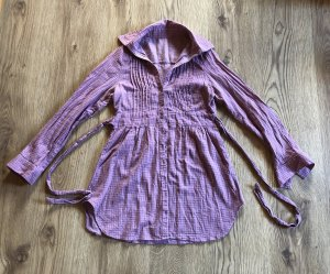Tunika Kariertes Hemd Bluse mit Gürtel