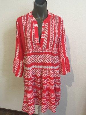 0039 Italy Vestido tipo túnica rojo-blanco