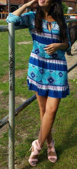 Tunika Kleid Hippie XS Azteken blogger hipster boho H&M nude rosa mint