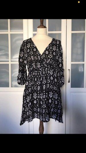 Mango Vestido tipo túnica negro-blanco