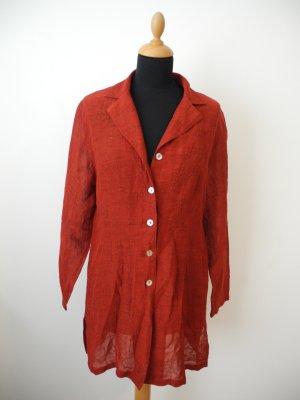 Tunika Kleid Kaftan rot Intarsien leich transparent Perlmutt Revers Blusenjacke Longbluse