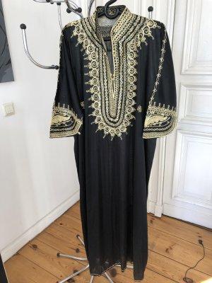 Tunika Kleid Kaftan Schwarz Gold Größe XL / XXL Vintage 70er 80er Jahre 70s 80s