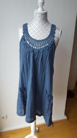 Tunika Kleid Longtop blau Häkeldetails