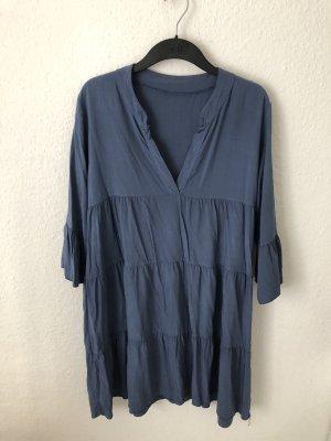 Robe tunique bleu-bleu acier