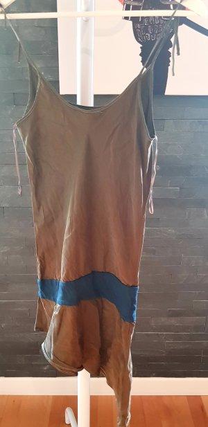 MNG Vestido tipo túnica ocre-azul oscuro