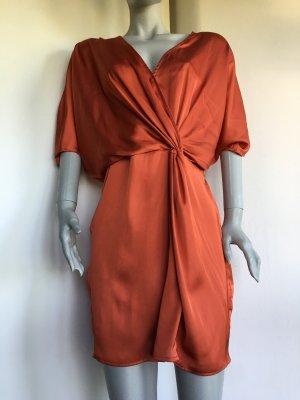 Tunika Kleid Wickelkleid Knoten asymmetrisch Seidenkleid orange Zara