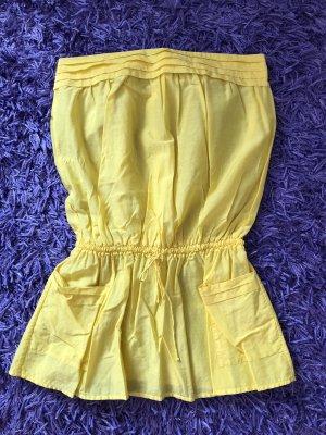 Tunika Longbluse Bluse Kleid gelb Größe 36 Princesse tam tam schulterfrei Seide