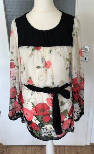 Tunika Longtop XS 34 Minikleid Blumen Muster Shirt mit Gürtel Sommer Oberteil