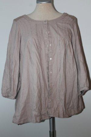 Tunika Marks&Spencer Gr. UK 18 EUR 46 beige braun Flachs und Viskose 3/4 Arm Bluse