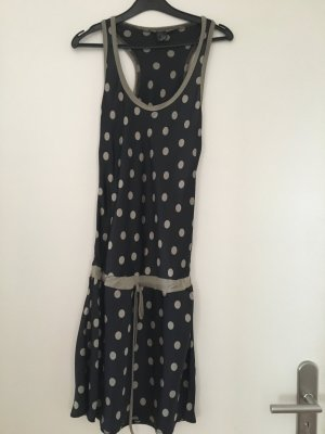 Tunika / Minikleid blau mit beigen Punkten