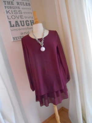 Tunika Minikleid Bordeaux Lagenlook Chiffon