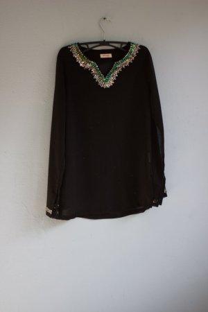 Tunika mit Pailletten Orsay schwarz bunt Glitzer Bluse boho 36/38