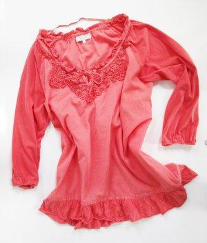 Tunika mit Spitze Cream Größe 40 M Living Koralle Orange Bluse Rüschen Shirt Mandarin Häkel Bordüre Lagenlook Shabby