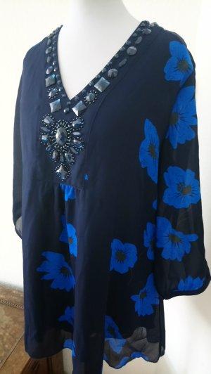 Camisa con cuello V azul-azul neón
