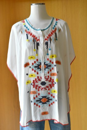 Tunika Poncho von BIYA by Johnny Was Neu Ethno Stickerei Indian Boho Seide