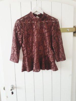 Tunika Rot Lila Weinrot Spitze Bluse Shirt S