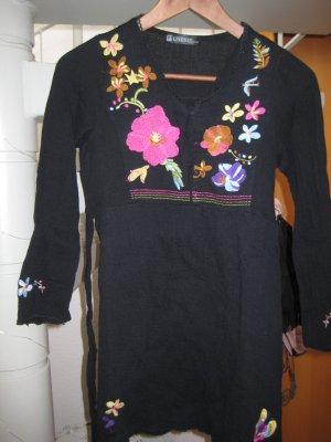 Tunika schwarz mit Blumenstickerei