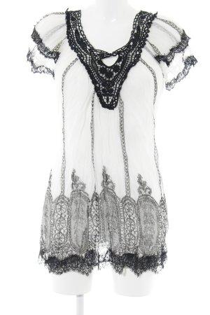 Casacca nero-bianco sporco stampa astratta stile Gypsy