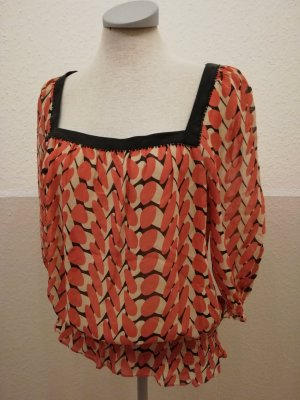 Tunika Seidentunika Top Seide Ted Baker Gr. 2 34 36 XS S orange schwarz Seidentop retro Oberteil