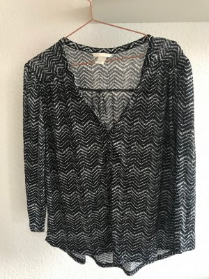 Tunika/Shirt gemustert schwarz/weiß, H&M Größe M