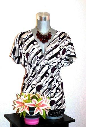 Tunika Shirt gr. 40/42 Retro Bluse lila Schwarz Weiß
