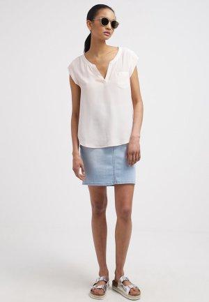 Tunika Shirt OPUS Satin V Ausschnitt Bluse 42 creme weiss