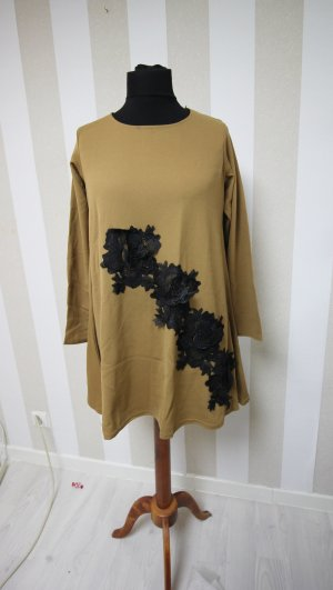 Camicia a tunica sabbia-nero