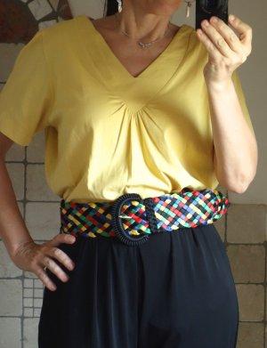 Lang shirt geel-donkergeel Katoen