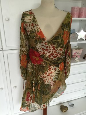 Tunika Strandkleid AX PARIS Bluse Gr. 36 / 38 Grün Blumen Kleid Swarovski