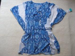 tunika, strandkleid H&M neu, weiss blau gr. 34/36 xs/s, passt aber bis L