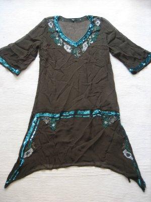 Capo da spiaggia marrone scuro-azzurro