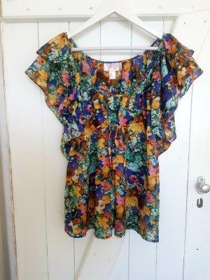 Tunika T-Shirt Oberteil Volants Schleife Top Bunt Blumen Sommer Garden Collection H&M XS