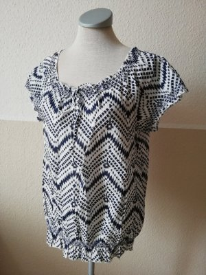 Tunic white-dark blue cotton