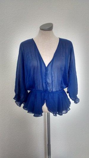 Tunika Top Oberteil Bluse blau Chiffon Gr. M 38 neu