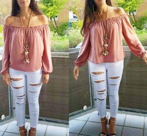 Tunika Top Shirt Off Shoulder Ibiza Hippie XS blogger hipster vintage bohonude rosa altrosa