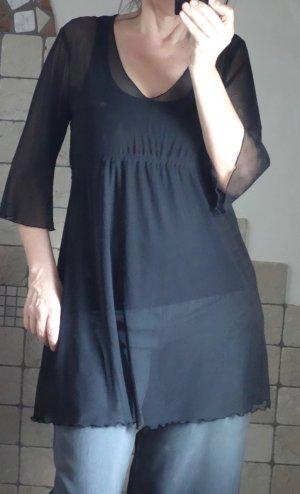 Tunika transparent, Netz A-Linie, transparent, schwarz, 3/4 Arm, Trompetenärmel, neuwertig, Gr. M