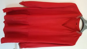Tunika/ Tunikabluse, Rot mit Perlenstrickerei, Gr. 36, H&M, neuwertig!