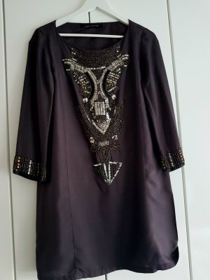 Zara Robe tunique noir-argenté