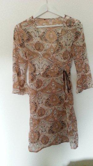 Tunika von ONLY Chiffonkleid Wickelkleid mit romantischem Muster Gr. M