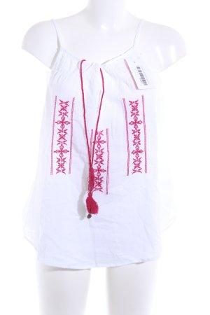 Tunika weiß-magenta florales Muster Boho-Look