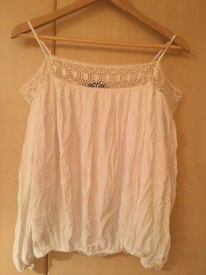 Tunika Zara Bluse Oberteil weiß beige M 38 36 Shirt Carmenausschnitt