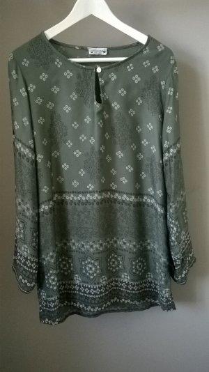 Tuniekblouse groen-grijs-khaki Katoen
